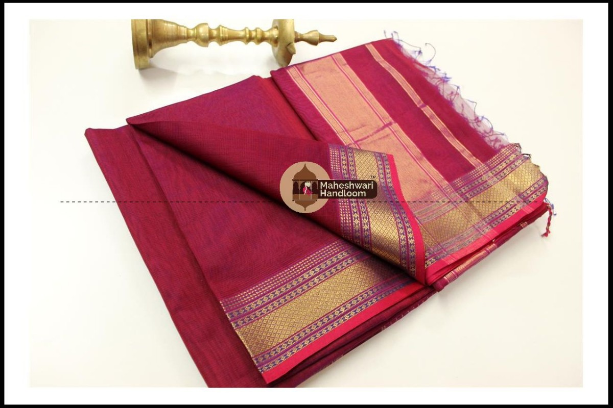 Maheshwari Maroon Red  Jari Hansa Border Saree