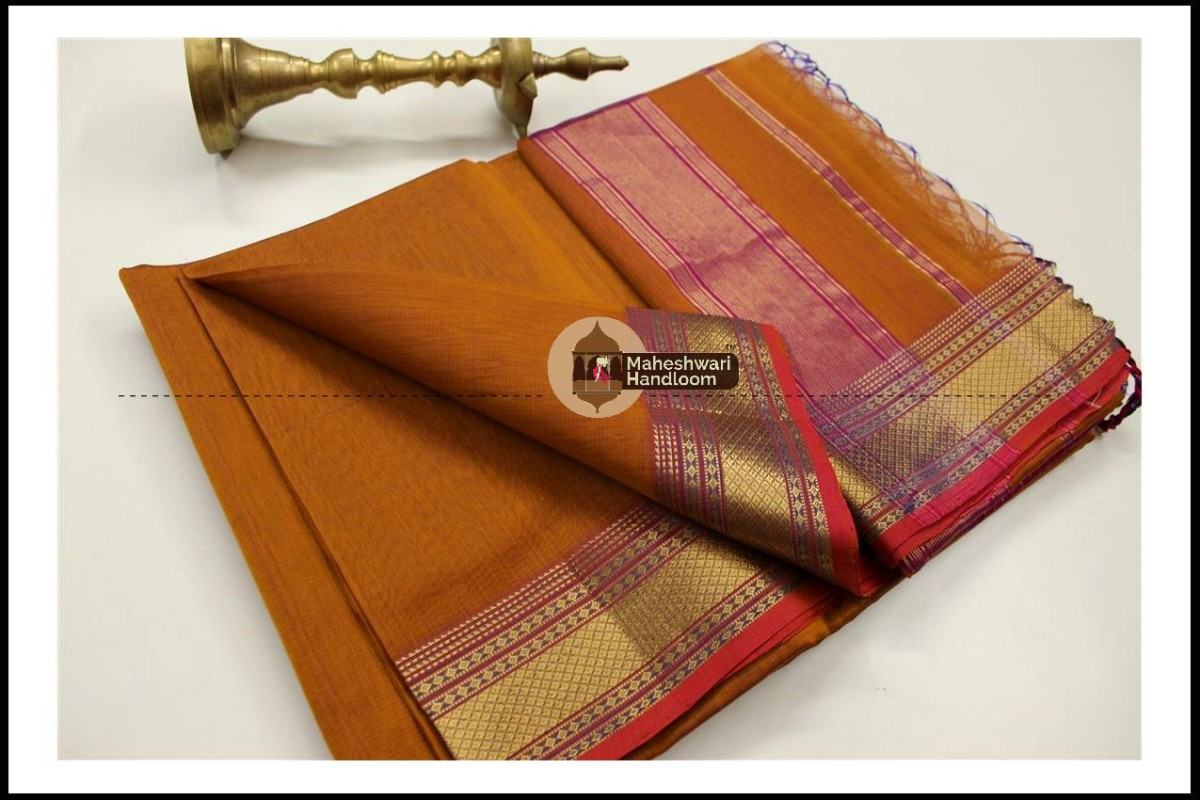 Maheshwari Mustard Yellow  Jari Hansa Border Saree