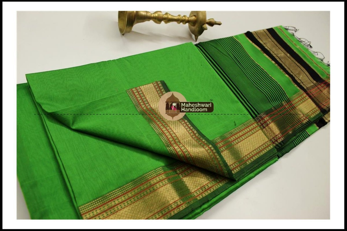 Maheshwari Green Jari Hansa Border Saree