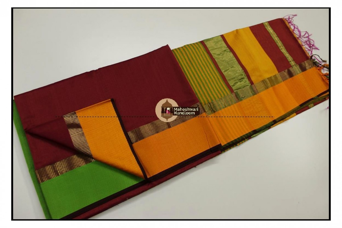 Maheshwari Maroon Red Ganga Jamuna Border saree