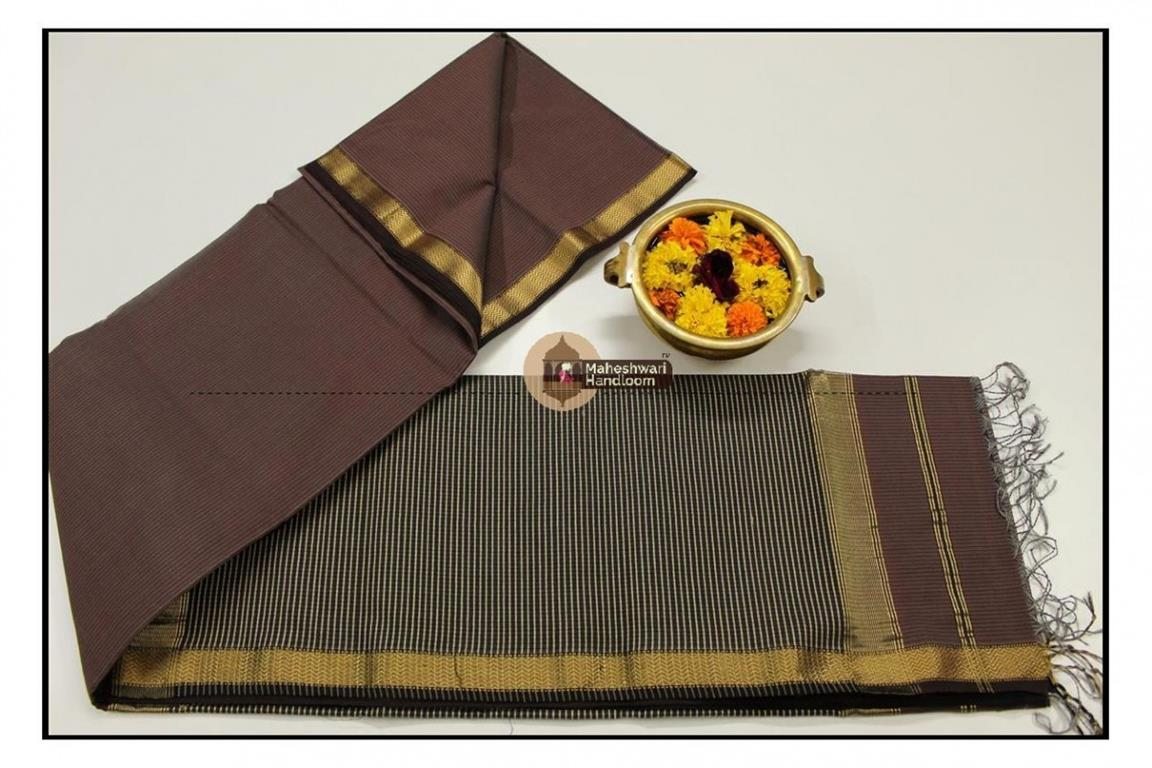 Maheshwari Chocolate Brown  Jari Lehar Border Saree