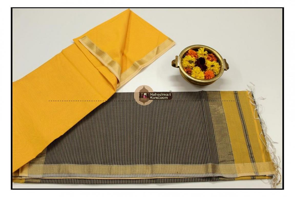 Maheshwari Yellow Jari Lehar Border Saree