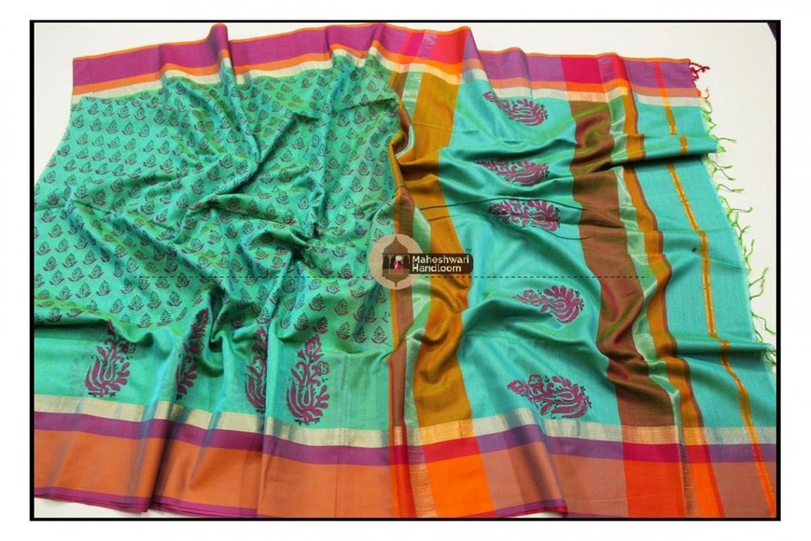 Maheshwari Sea Green Handblock Print Saree