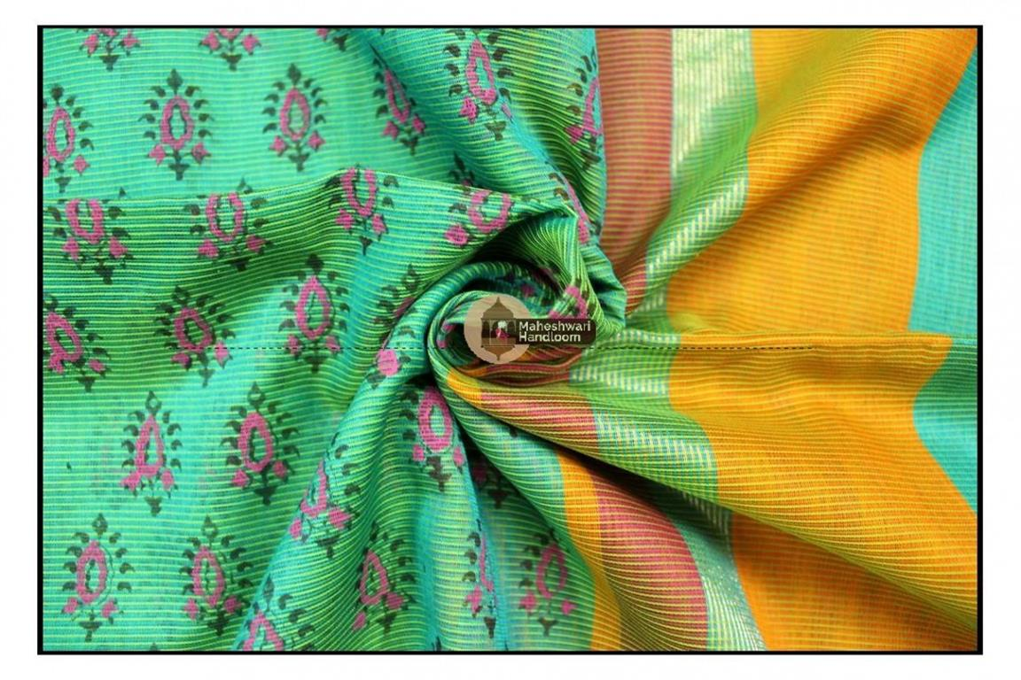 Maheshwari Sea Green Handblock Printed Saree