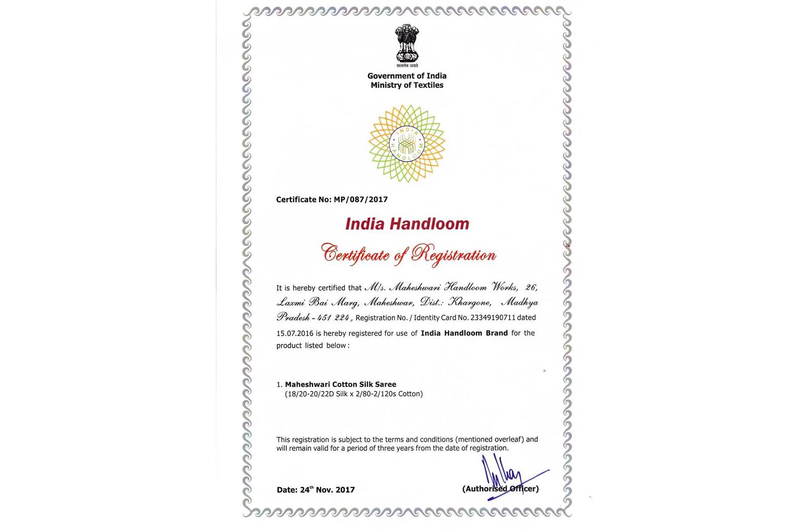 India Handloom Brand-Maheshwari Handloom Works
