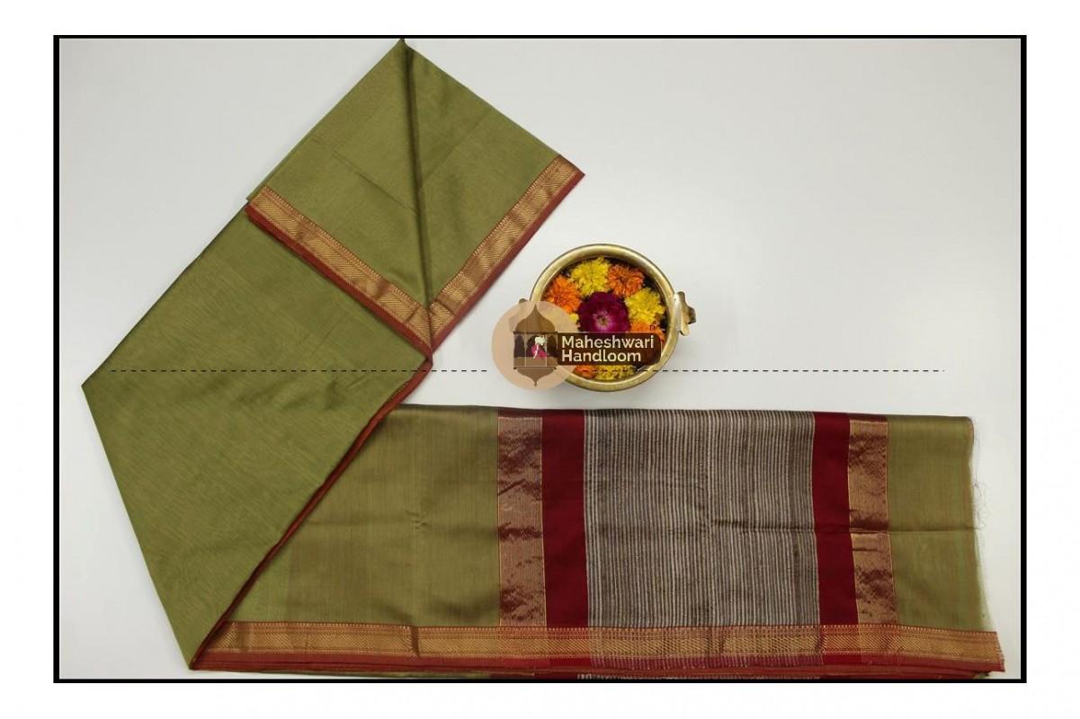 Maheshwari Mehandi Green Gicha Pallu Saree
