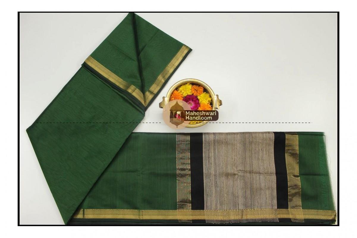 Maheshwari Chutney Green Gicha Pallu Saree