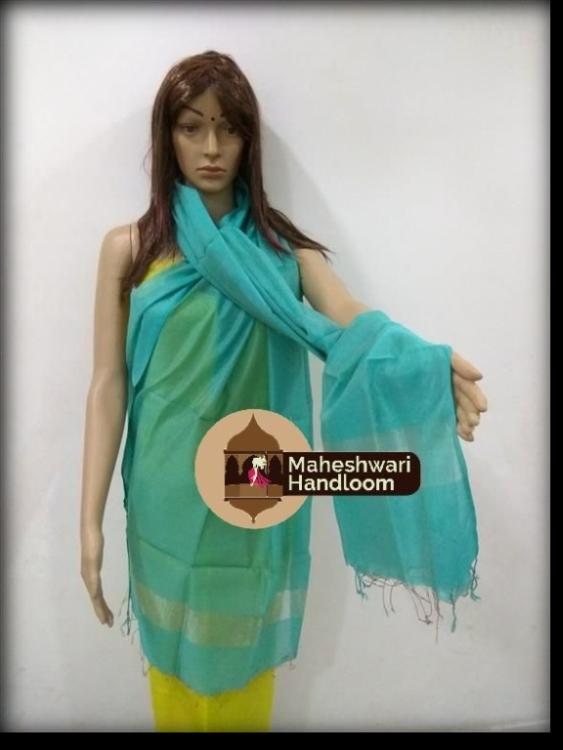 Maheshwari Sky Blue Silk Dupatta With Jari Pallu
