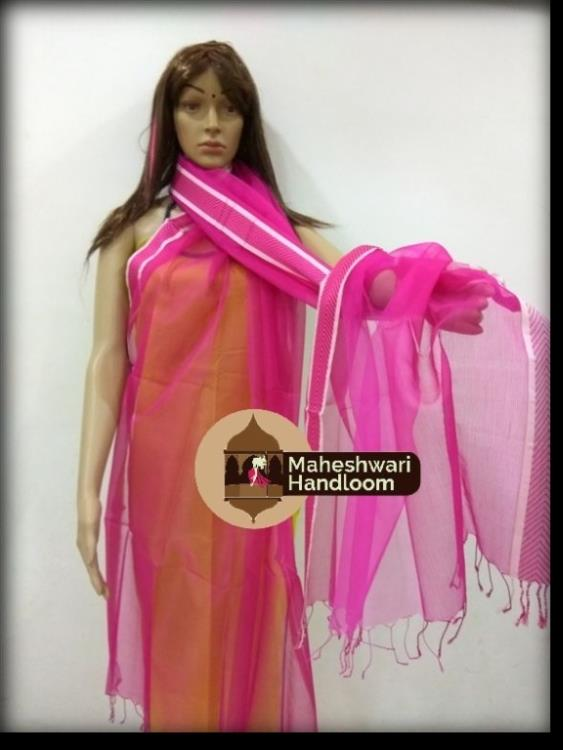 Maheshwari Pink Silk Dupatta With v-Border