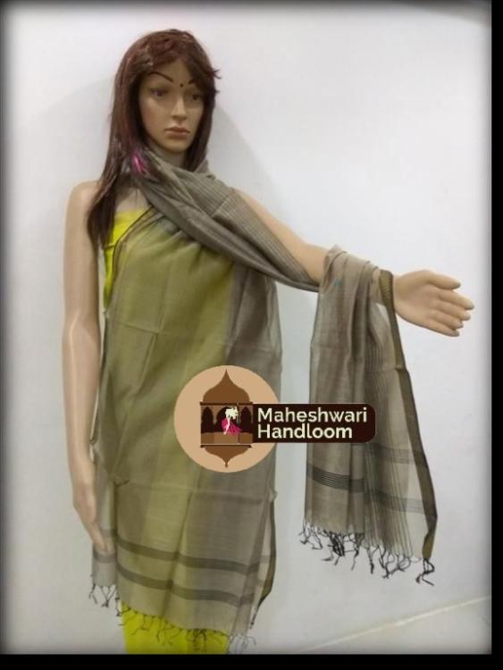 Maheshwari Grey Dupatta With Black Border