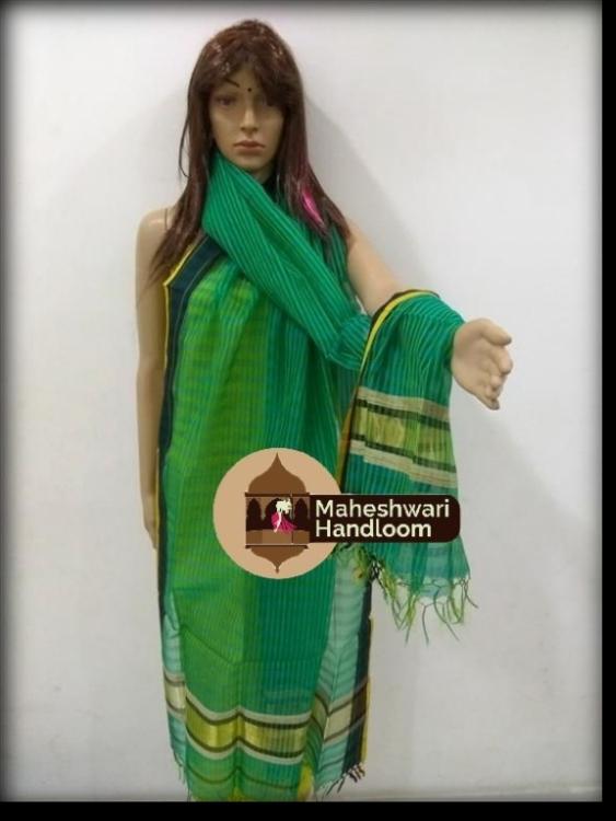 Maheshwari Green Dupatta With Blue Border