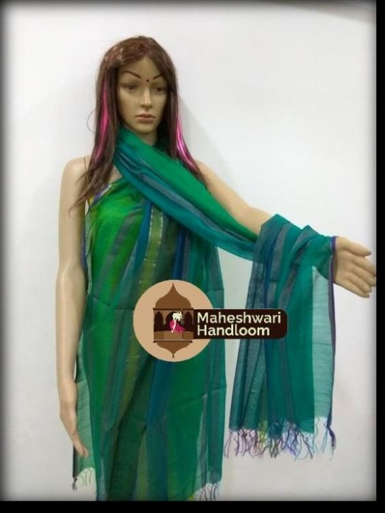 Maheshwari Green Silk Dupatta With Ganga Jamuna Border