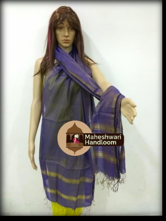 Maheshwari Blue Dupatta With Jari Border