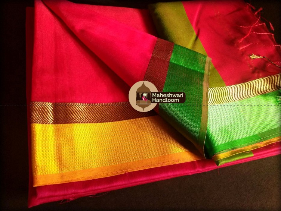 Maheshwari Red Cola  Ganga Jamuna saree