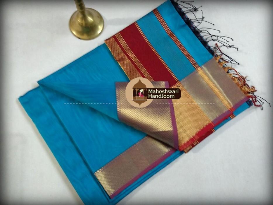 Maheshwari Firozi Jari Skirt Border Saree