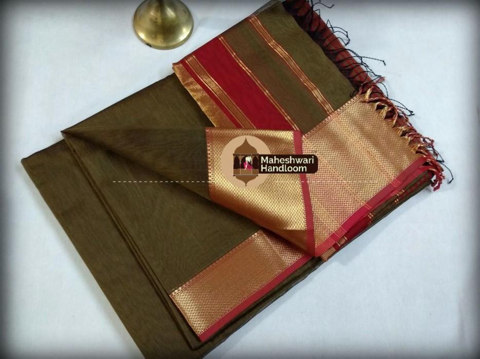 Maheshwari Dark Bown Jari skirt Border saree