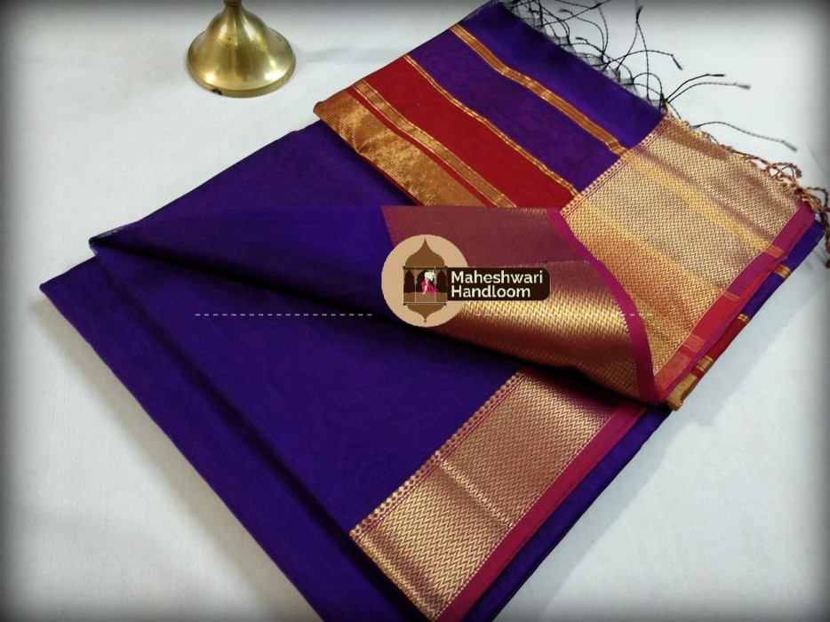 Maheshwari dark Blue Border Jari Skirt Saree