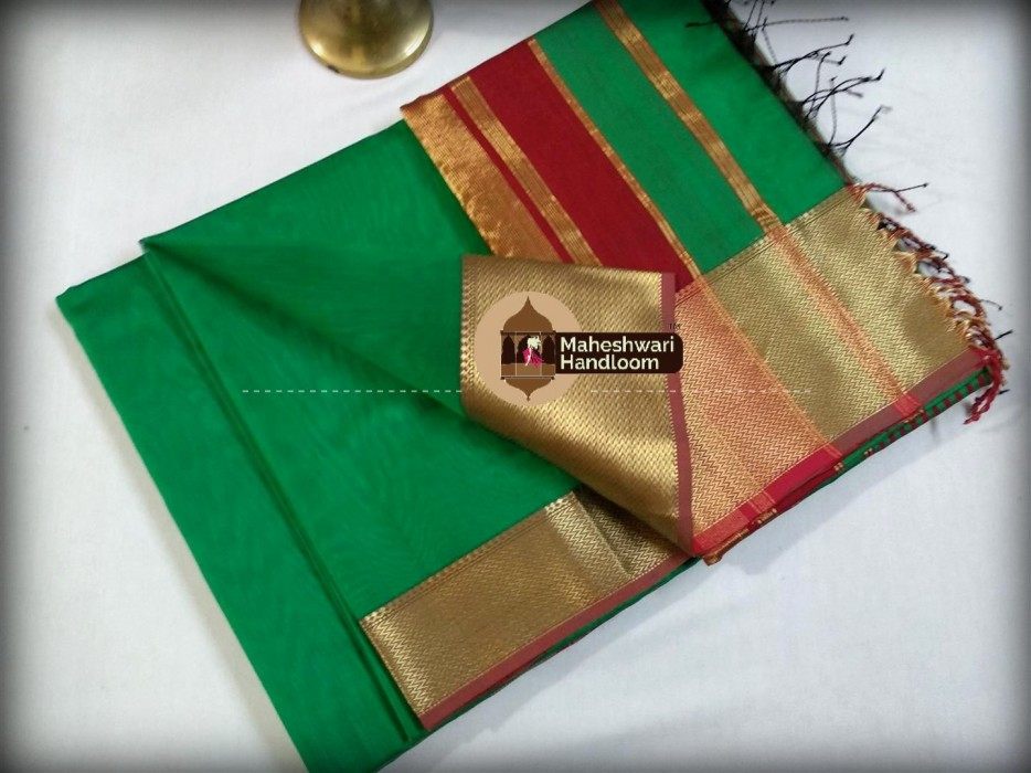 Maheshwari LIght Green  Jari skirt Border saree