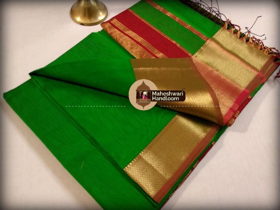Maheshwari Dark Green Jari skirt Border saree