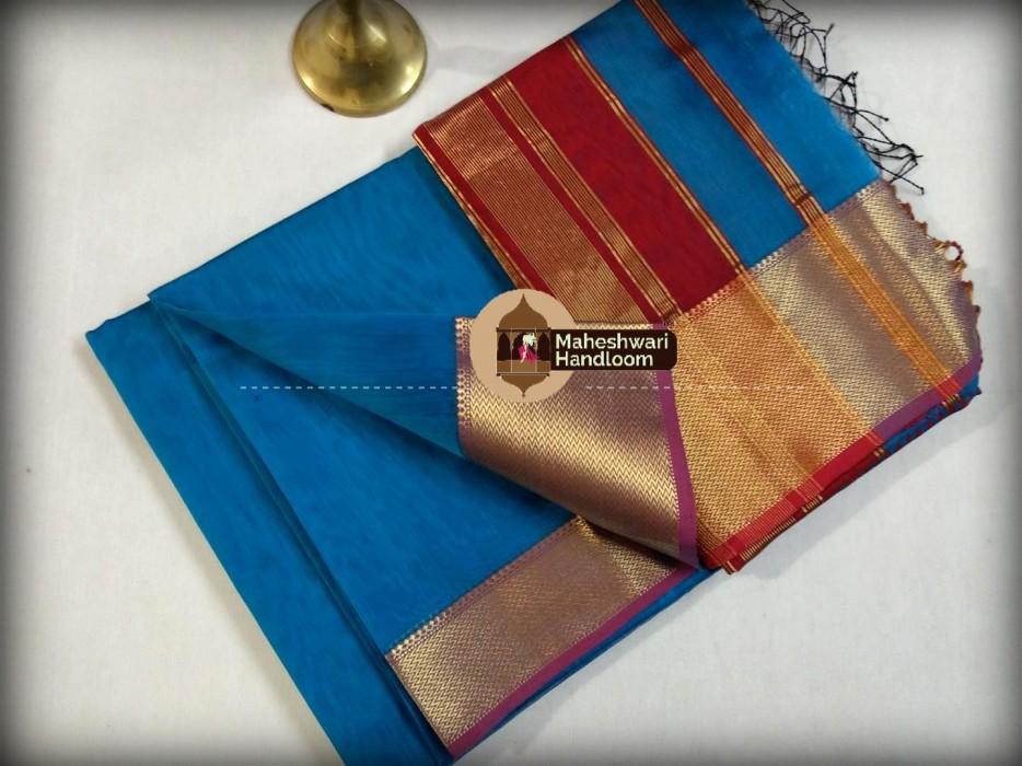 Maheshwari  Dark FiroziJari skirt Border saree