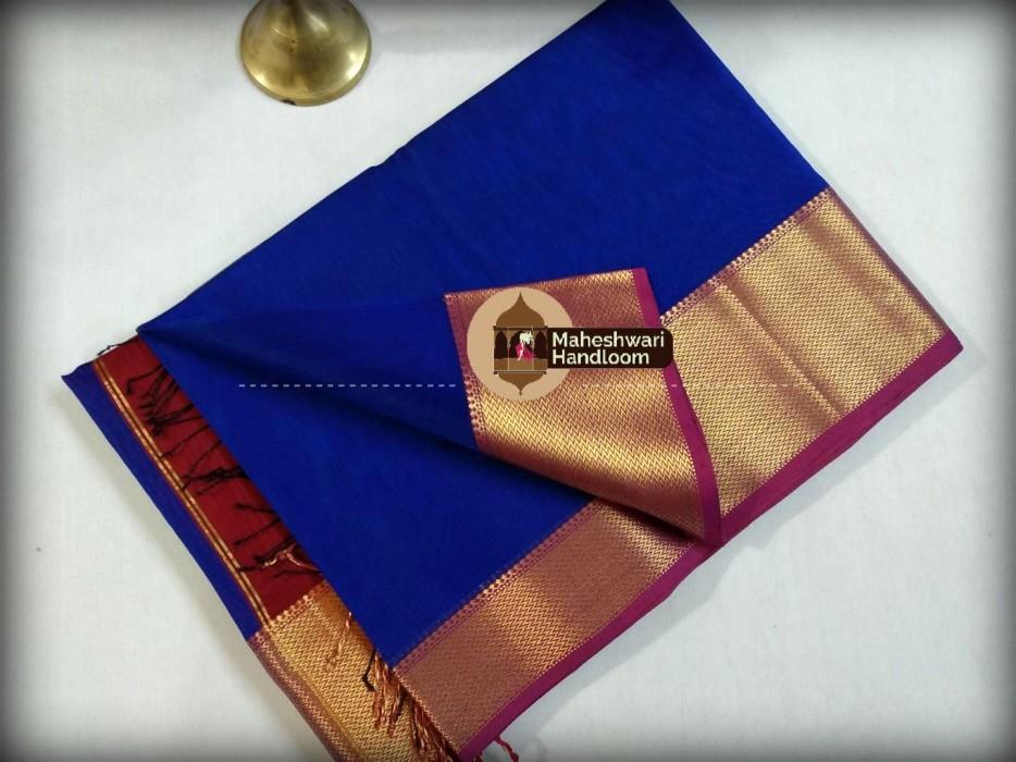 Maheshwari  Royal Blue Jari skirt Border saree