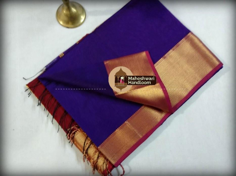 Maheshwari Purple Jari skirt Border saree