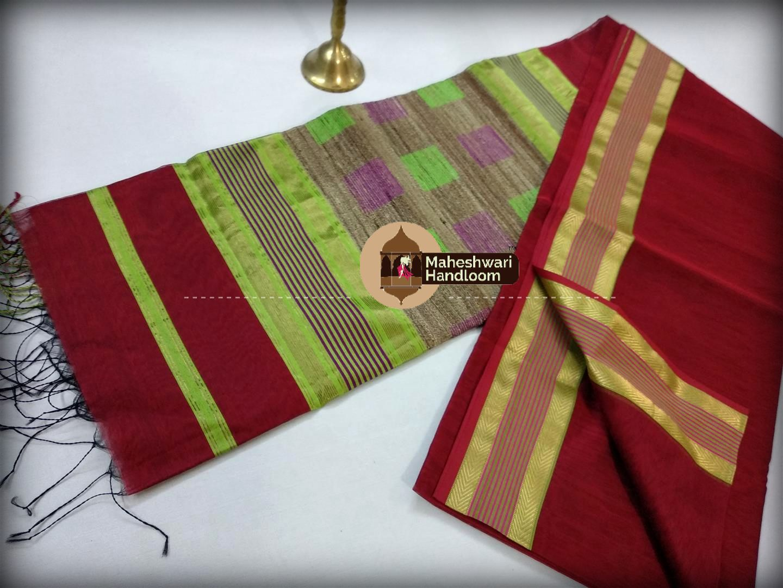 Handwoven Maheshwari Red Silk Cotton Saree
