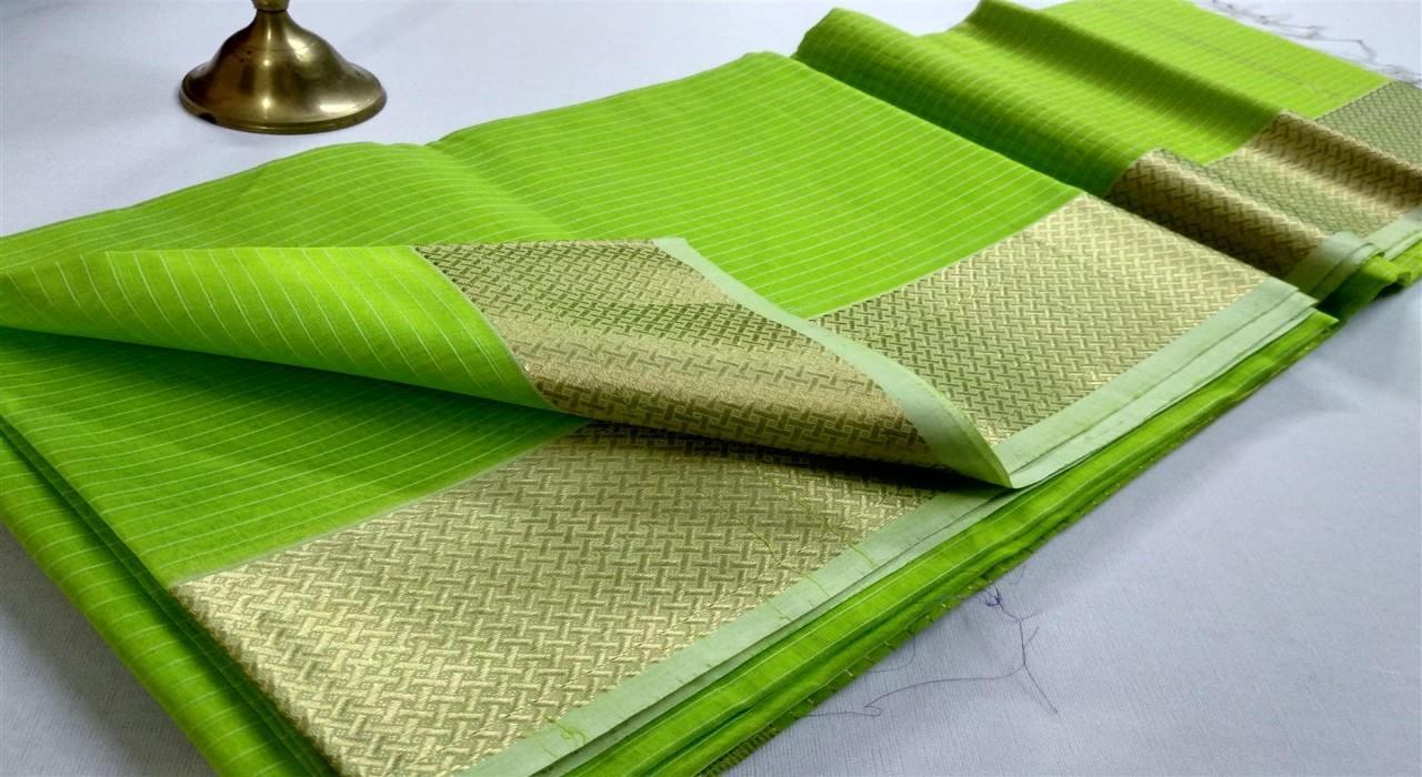 Maheshwari Handlooom Works Borad Maheshwari  Green Silk Cotton Saree