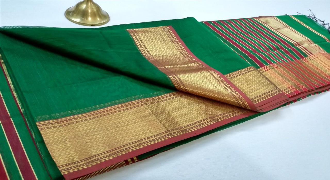 Maheshwari Handloom Works Maheshwari  Jari Lehar Border Silk Cotton Saree