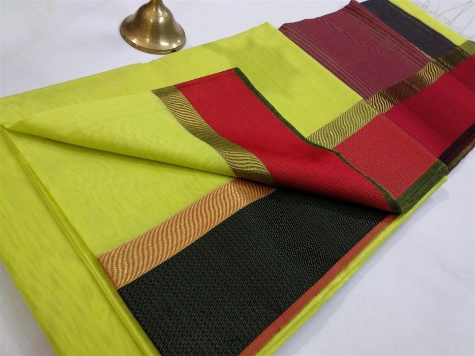 Maheshwari Light Green Green Ganga Jamuna saree