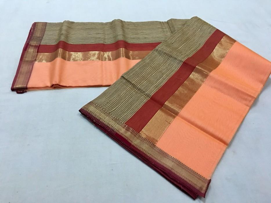 MAheshwari Peach Gicha Pallu Saree