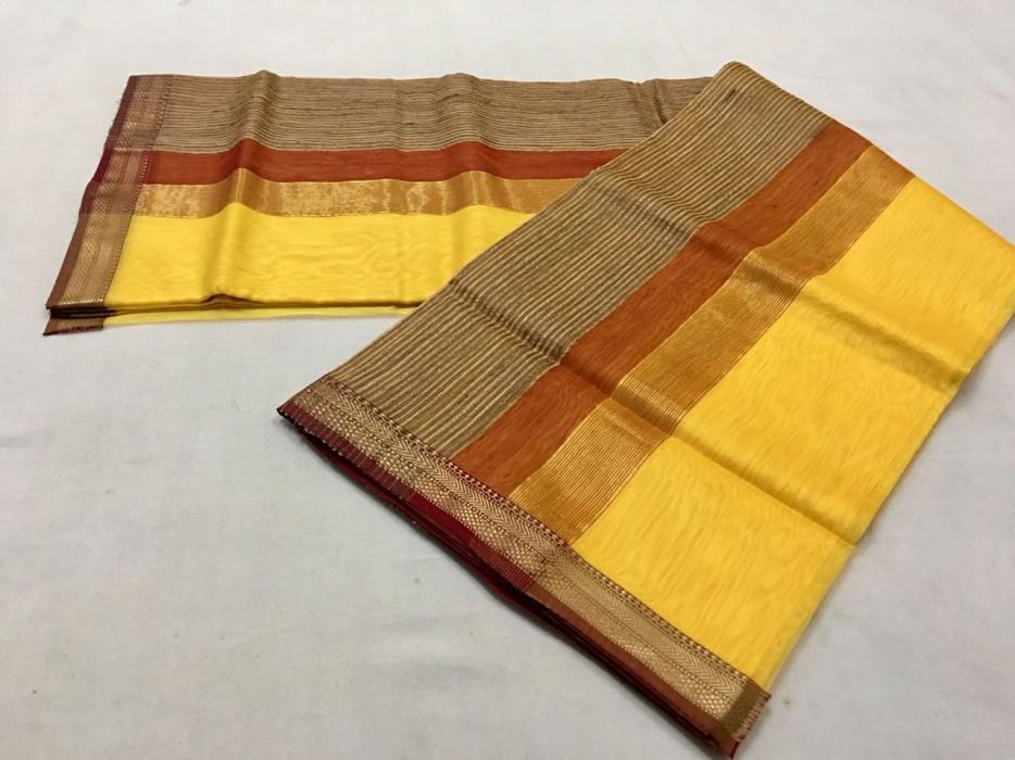 Maheshwari  Yellow Gicha pallu saree
