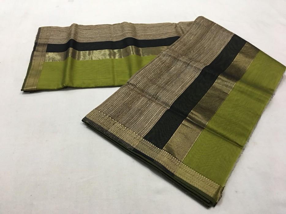 Maheshwai Green Gicha Pallu Saree