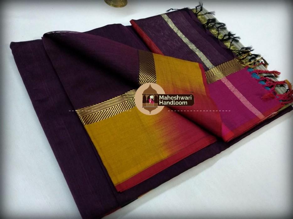 Maheshwari Dark Purple Shaded Border saree