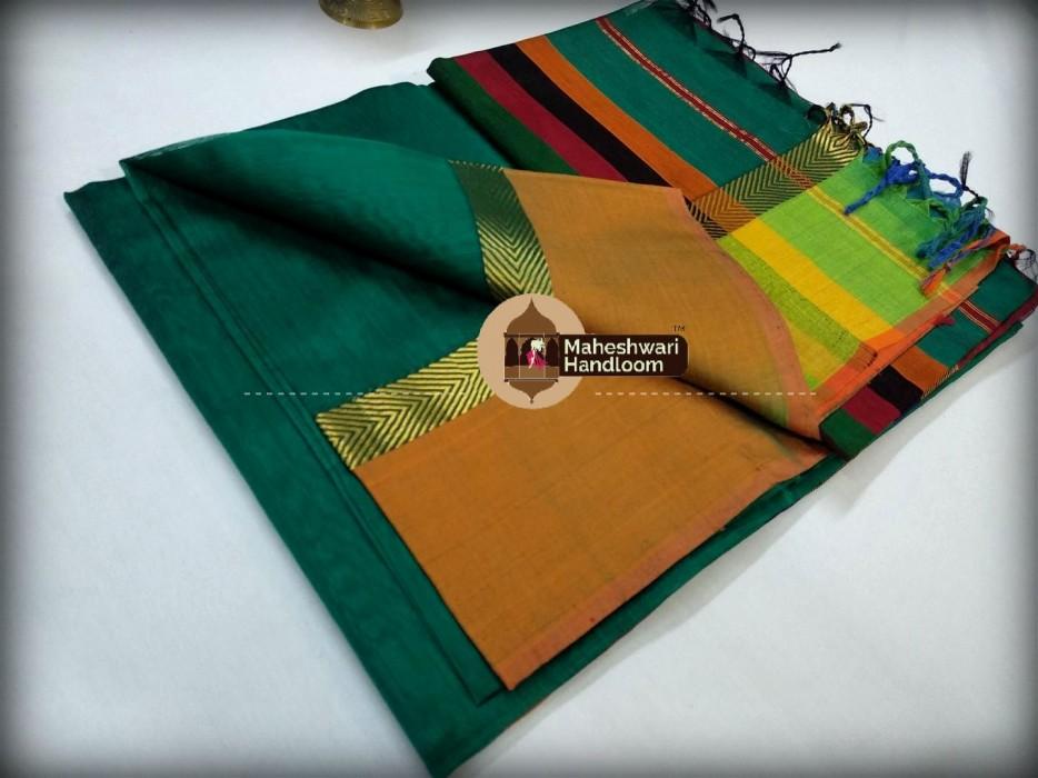 Maheshwari Rama Green Shaded Border Saree