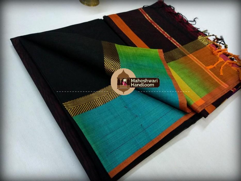 Maheshwari Black Shaded Border Saree