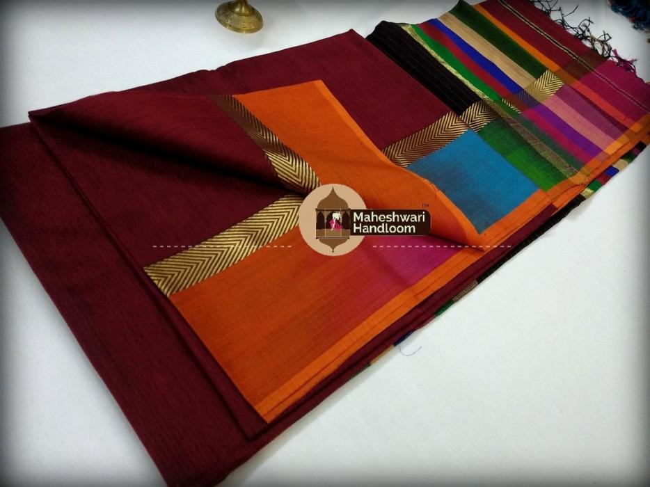 Maheshwari Antique Ruby Shaded Border saree