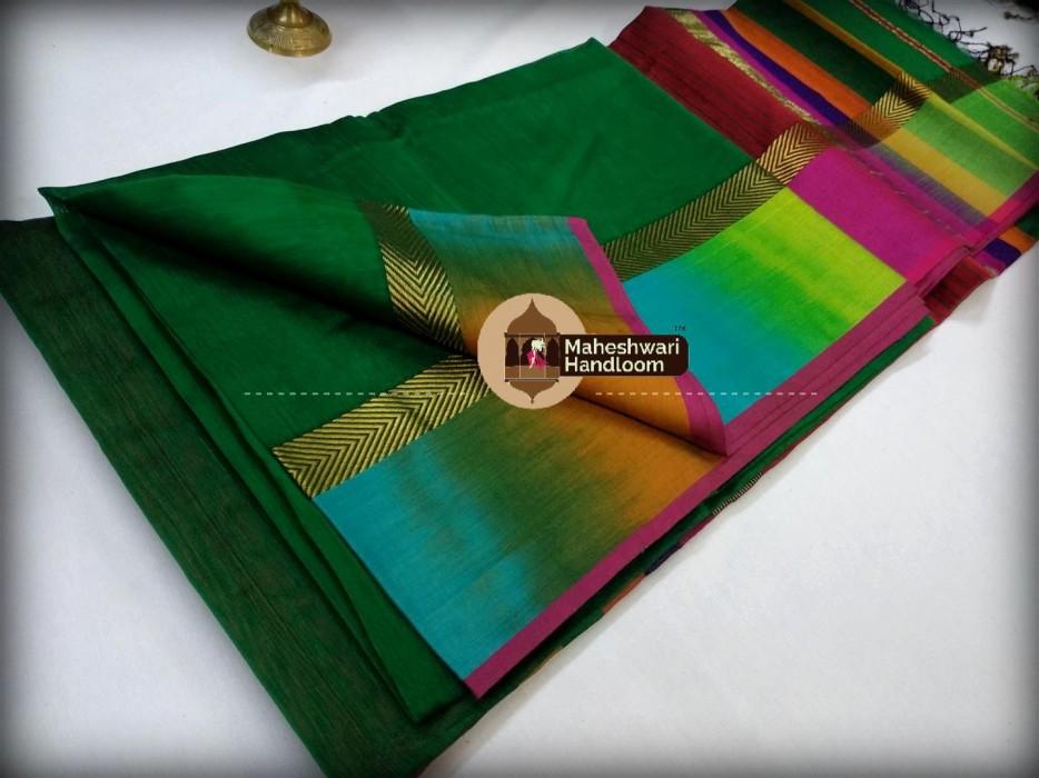 Maheshwari Green Shaded Border Saree