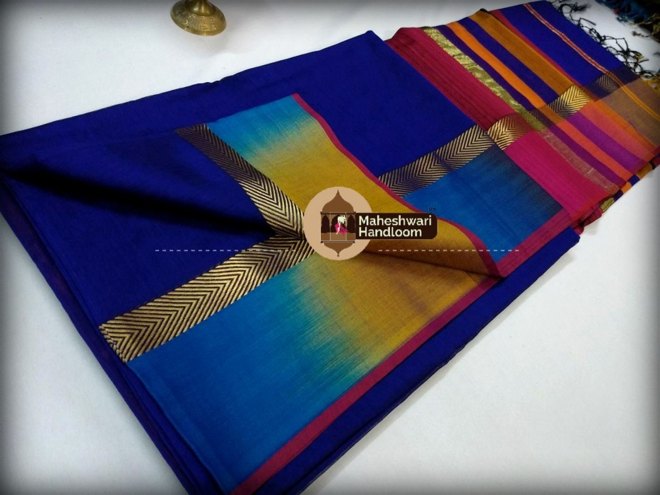 Mahehswari Royal Blue Shaded Border Saree