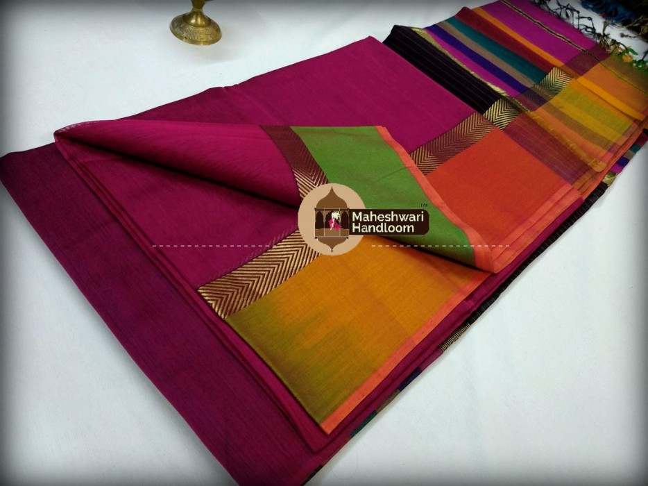 Maheshwari Pink shaded Border Saree