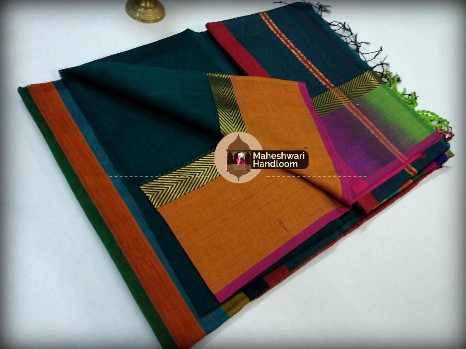 Maheshwari Dark Rama Green Shaded Border saree