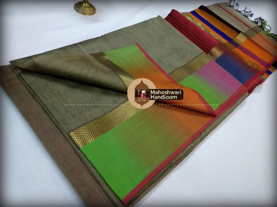 Maheshwari Greyshaded Border saree