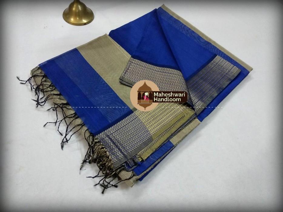 Maheshwari  Blue Resham 9v Border saree