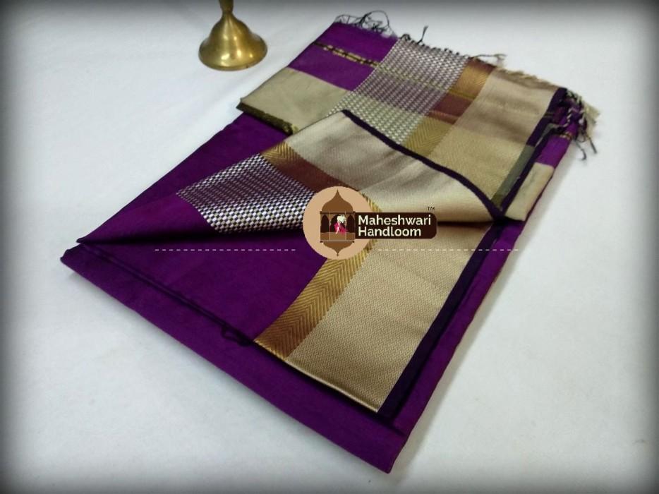 Maheshwari Purple Shatranj Border Saree