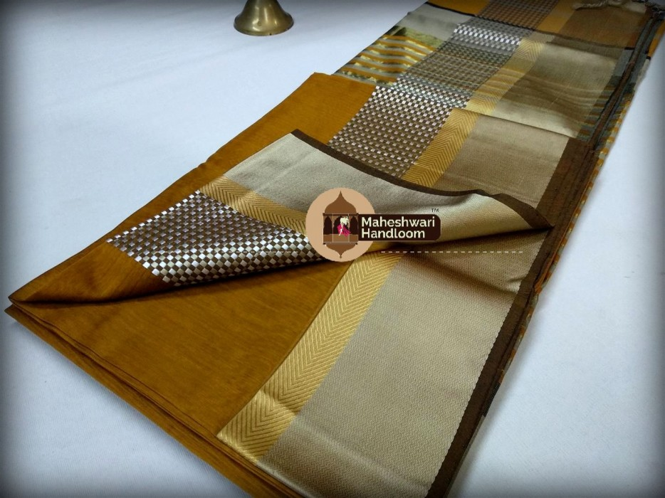 Maheshwari Mustard Yellow  Shatranj  Border Saree
