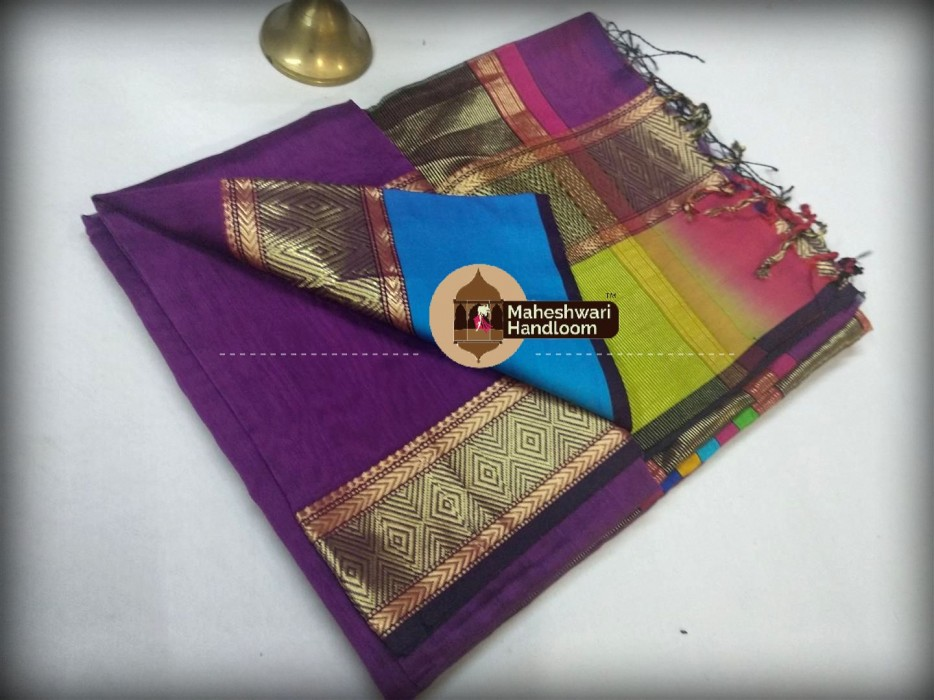 Maheshwari Light Purple Shahded Jari Border Saree