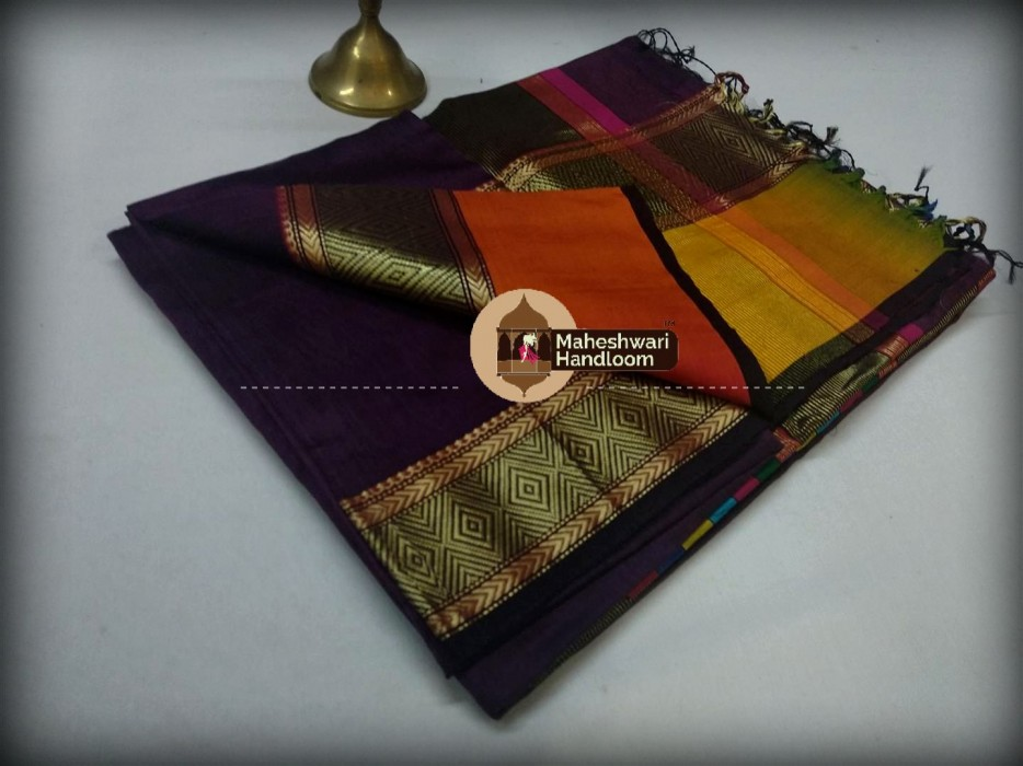Maheshwari Dark Purple Shahded Jari Border Saree