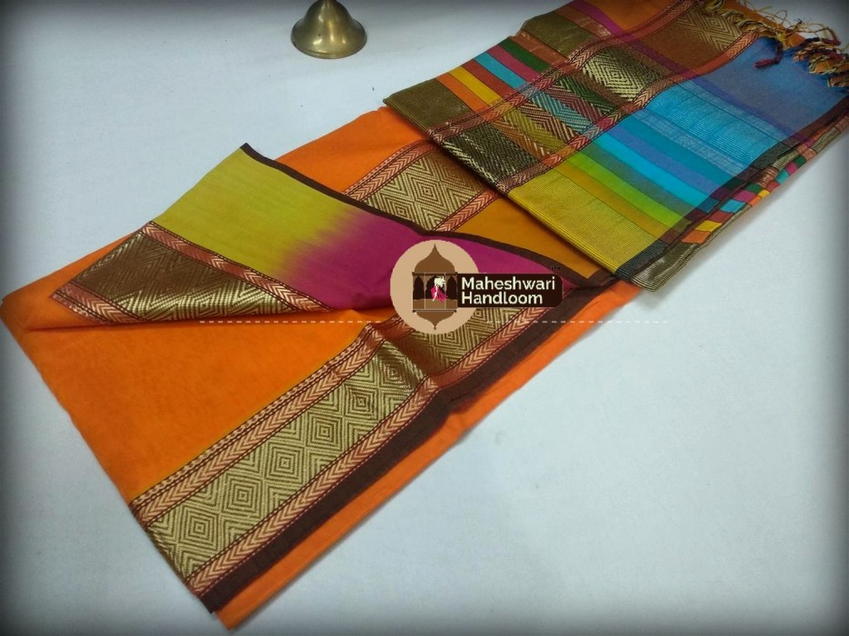 Maheshwari Orange Shahded Jari Border Saree