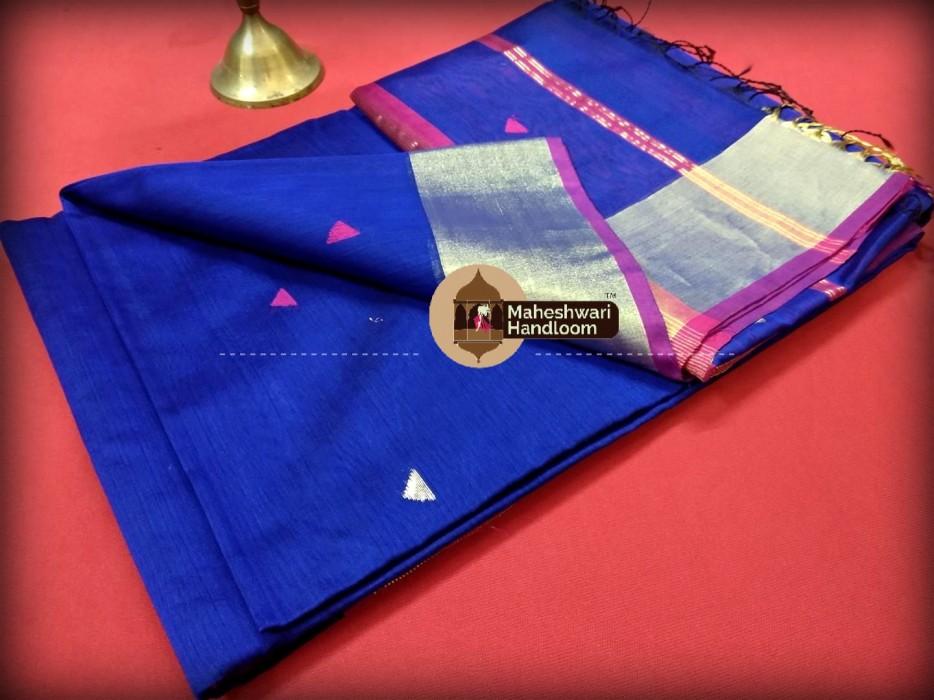Maheshwari Blue Triangle Buti - Motifs Saree