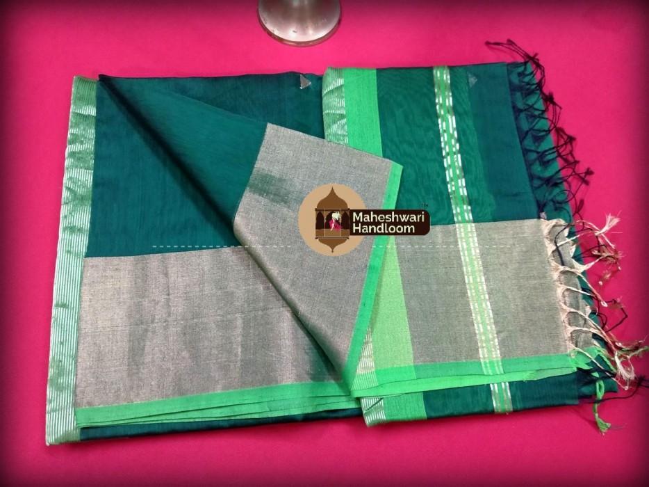 Maheshwari British green  Triangle Buti - Motifs Saree